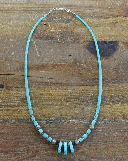Vintage Navajo Turquoise Sterling Silver Beaded Necklace