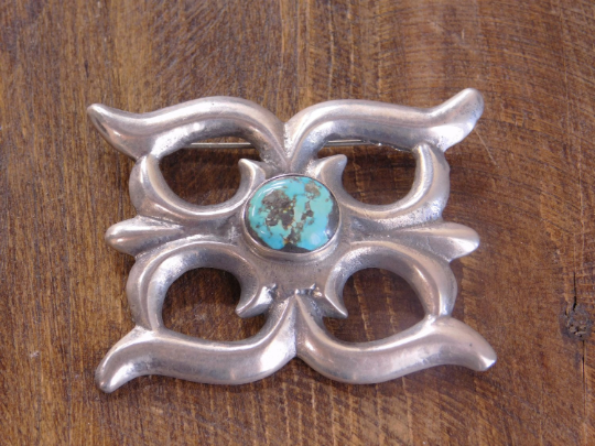 Vintage Navajo Sterling Silver and Turquoise Sandcast Pin