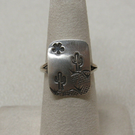 Saguaro and Sun Sterling Silver Rize 6 3/4