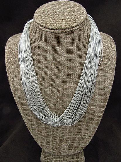 Multi Strand Liquid Silver Necklace
