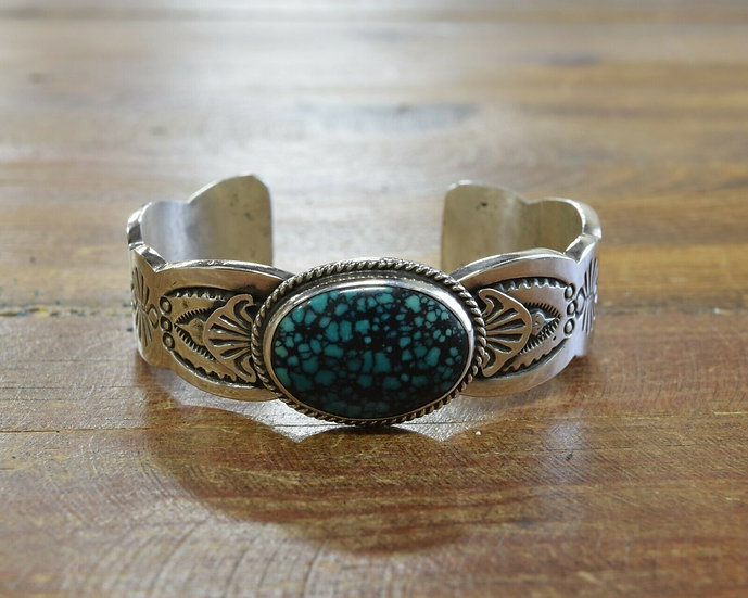 Navajo Sterling Silver and Turquoise Cuff Bracelet by Wilson Begay