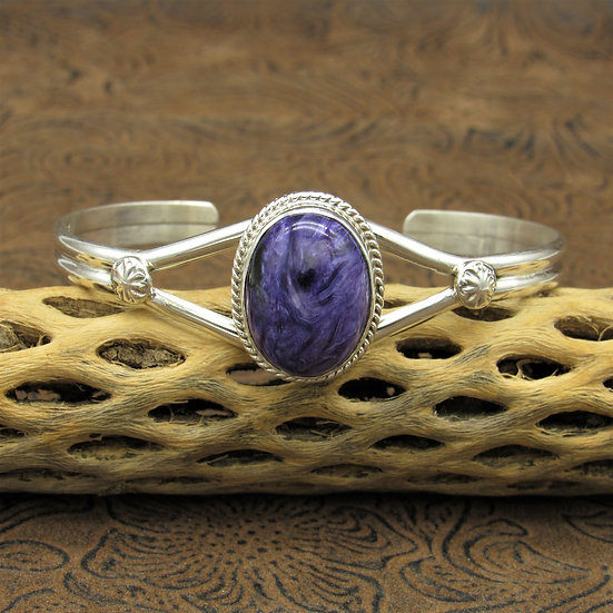 Sterling Silver Charoite Navajo Cuff Bracelet
