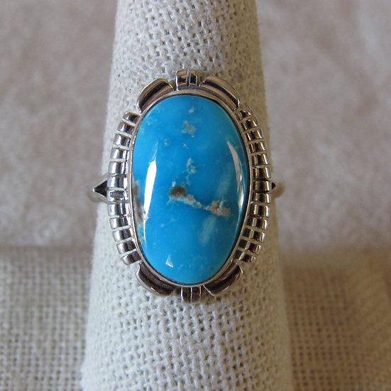 Beautiful Turquoise and Sterling Silver Ladies Size 9 Ring