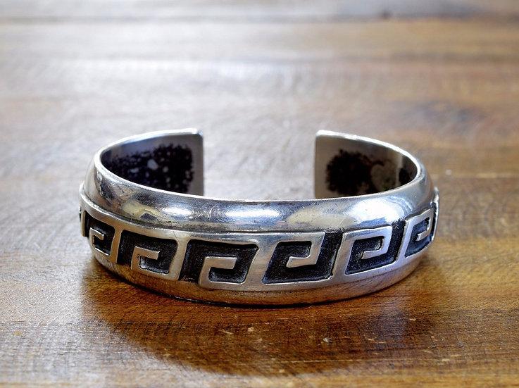 Vintage Navajo Swirl Sterling Silver Bracelet By Gene & Martha Jackson
