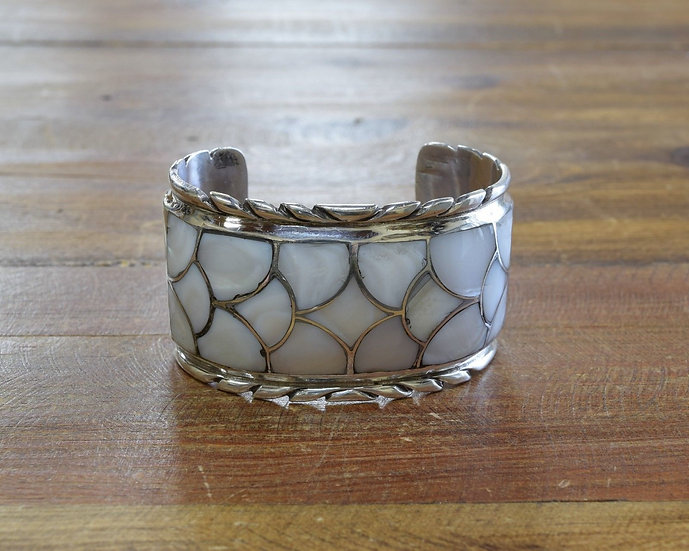 Vintage White Mother Of Pearl Sterling Silver Cuff Bracelet