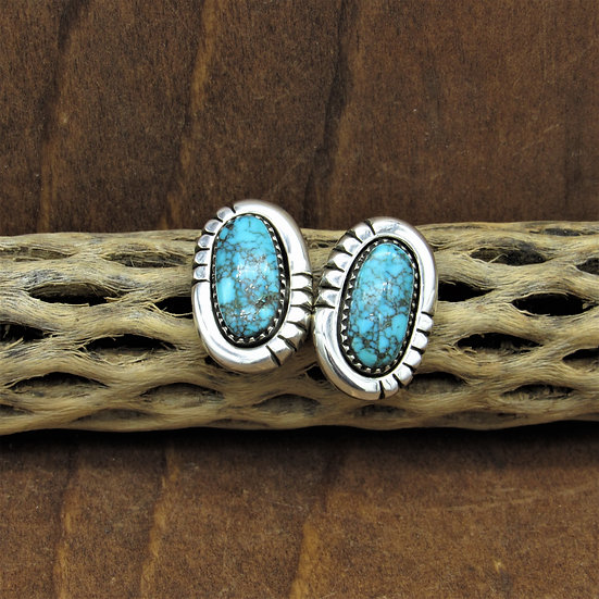 Vintage Navajo Sterling Silver Turquoise Earrings By Mary Marie Yazzie Lincoln