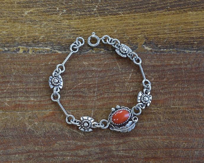 Vintage Southwestern Sterling Silver and Red Coral Link Bracelet