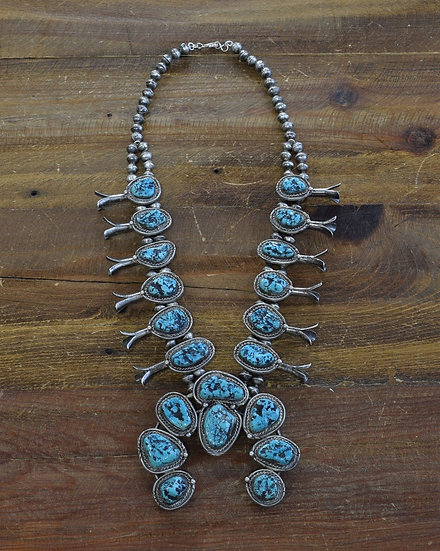 Vintage Sterling Silver and Turquoise Squash Blossom Necklace