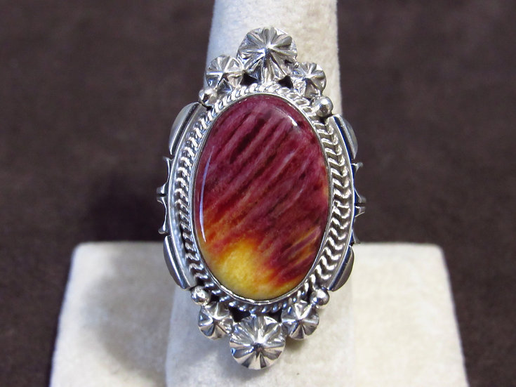 Unusual Spiny Oyster Shell and Sterling Silver Ladies Ring Size 9
