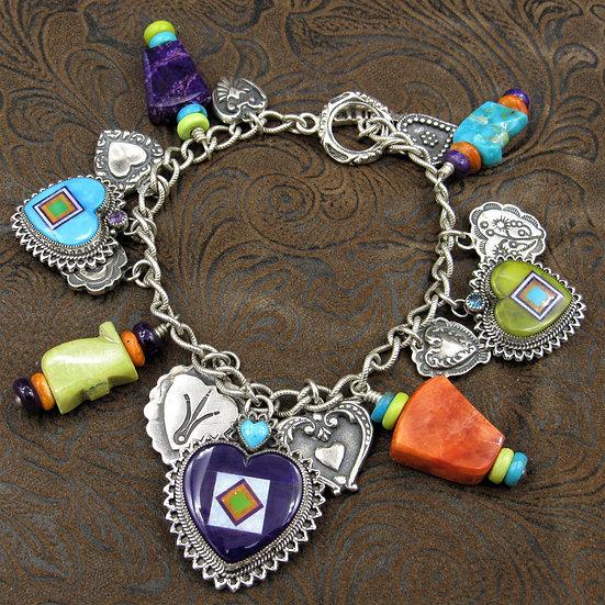 Sterling Silver Multi Stone Inlay Heart Bracelet By Aldrich