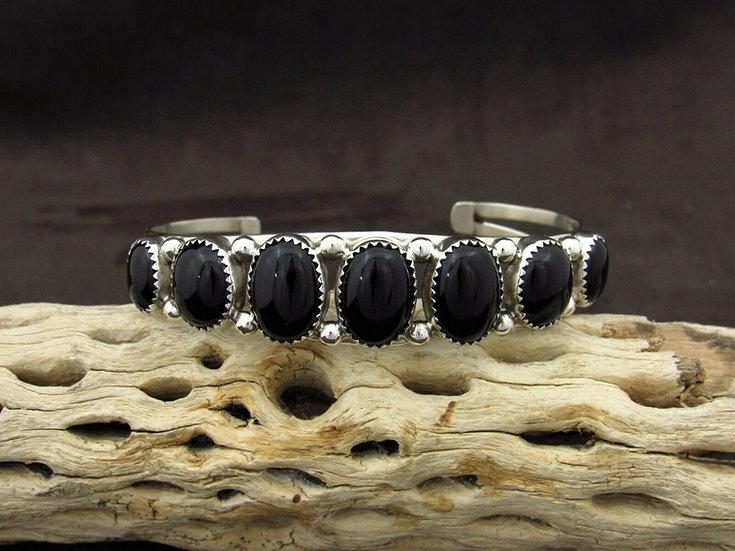 Sterling Silver Multi Stone Onyx Cuff Bracelet