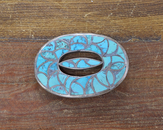 Vintage Southwestern Turquoise Sterling Silver Inlay Belt Buckle