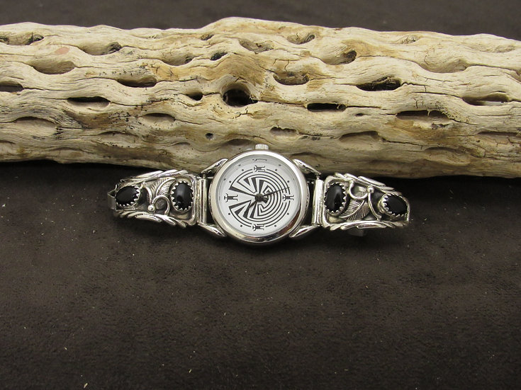 Sterling Silver Onyx Watch Band