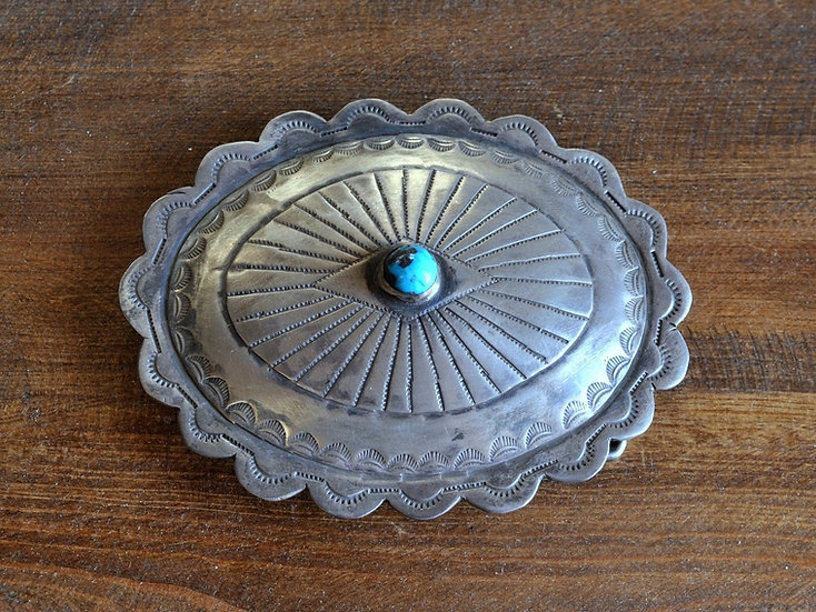 Vintage Southwest Sterling Silver And Turquoise Belt Buckle