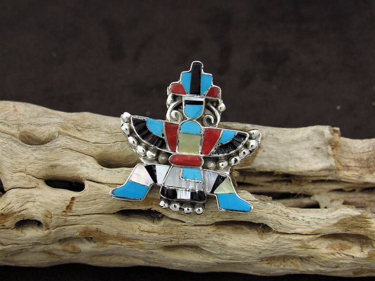 Multi-Color Zuni Inlay Knifewing Kachina Pendant and Pin