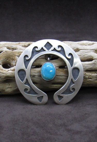 Turquoise Sterling Silver Overlay Cast Naja Pendant