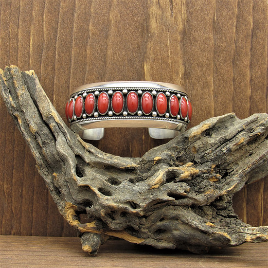 Vintage Navajo Sterling Silver and Red Coral Cuff Bracelet by Calvin Martinez
