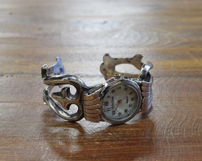 Sterling Silver Navajo Sandcast Watch Cuff Bracelet By Frances Jones
