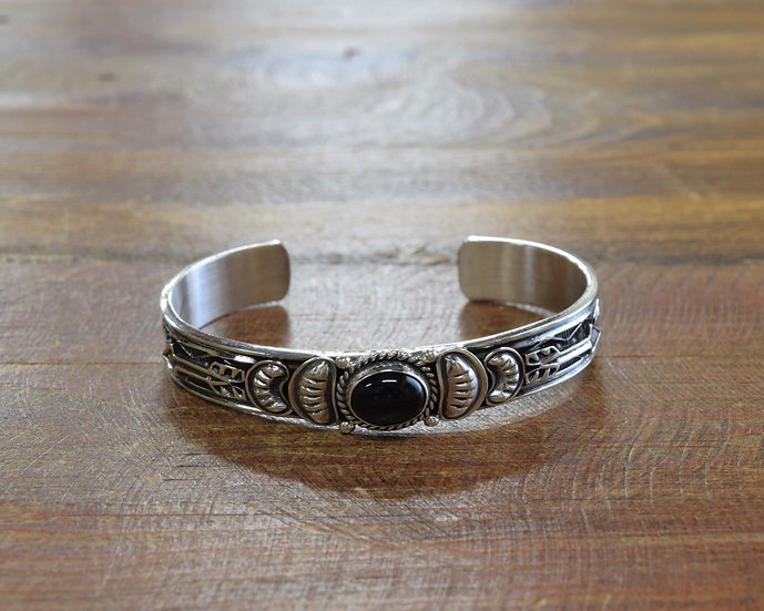 Southwest Navajo Sterling Silver and Onyx Cuff Bracelet