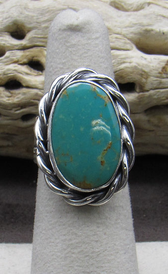 Beautiful Navajo Made Turquoise and Sterling Silver Ring Size 6 1/2