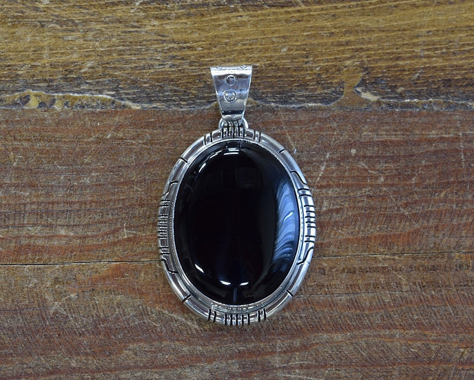 Southwest Sterling Silver and Black Onyx Pendant