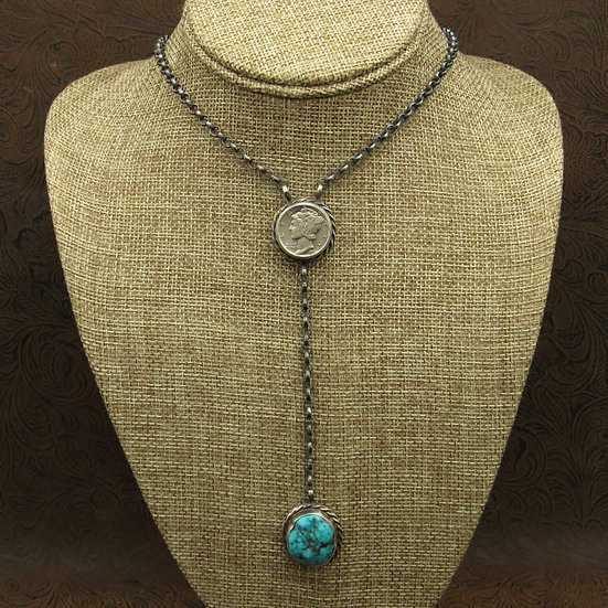 Oxidized Sterling Silver Mercury Dime Turquoise Necklace by Betta Lee