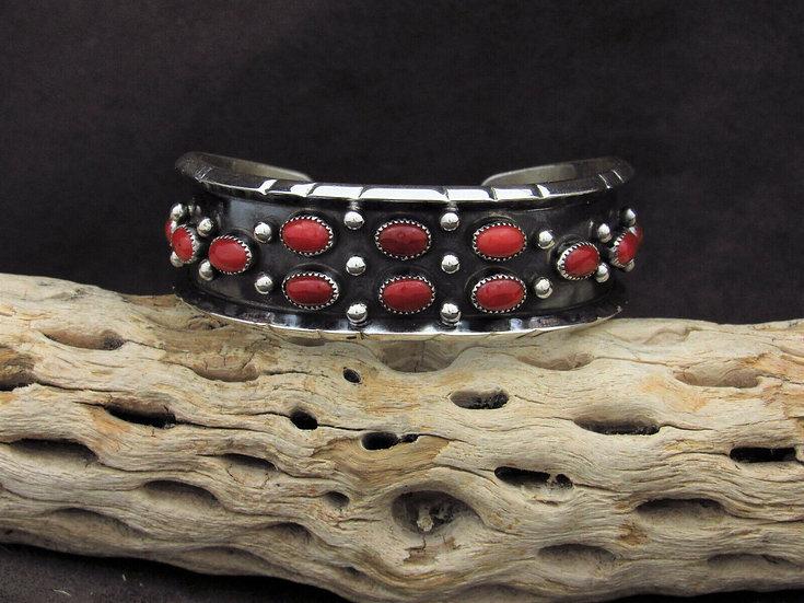 Contemporary Navajo Sterling Silver Coral Cuff Bracelet By Rose Castillo