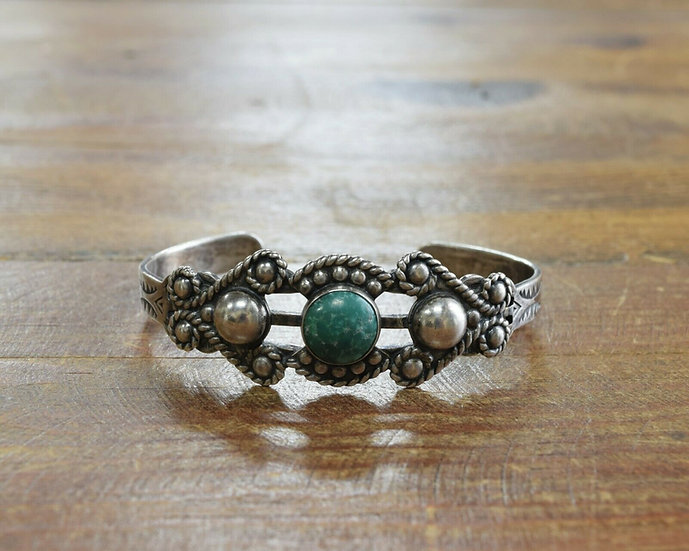 Vintage Maisel's Fred Harvey Era Sterling Silver and Turquoise Cuff Bracelet