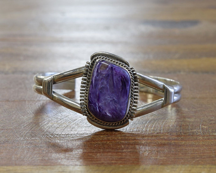 Navajo Sterling Silver Charoite Cuff Bracelet