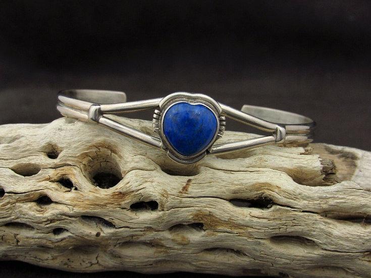 Sterling Silver Lapis Heart Cuff Bracelet