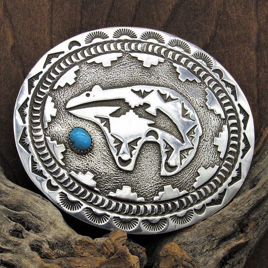 Vintage Southwestern Turquoise and Sterling Silver Overlay Belt Buckle