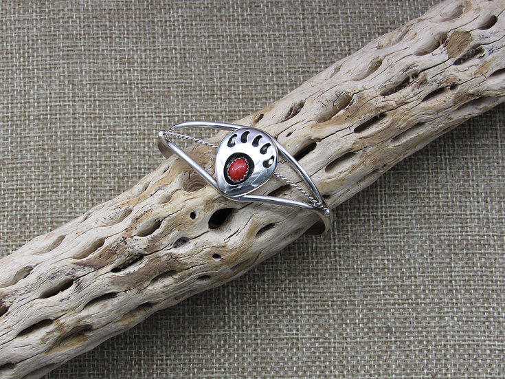 Southwestern Sterling Silver and Coral Bear Paw Bracelet