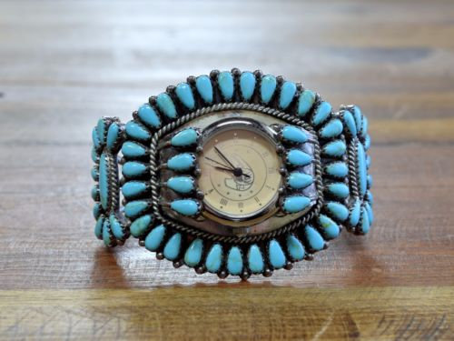 Vintage Navajo Block Turquoise Cluster Sterling Silver Watch Cuff Bracelet