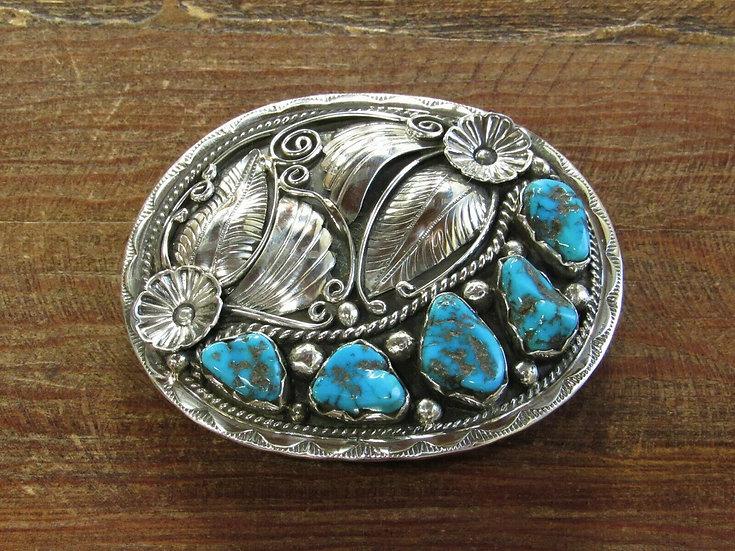 Southwestern Turquoise Sterling Silver Belt Buckle