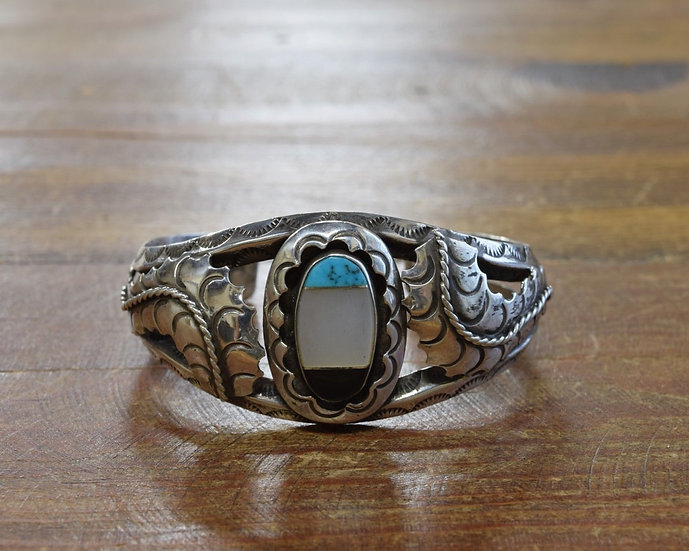Vintage Southwestern Sterling Silver Turquoise, Shell, and Jet Inlay Bracelet