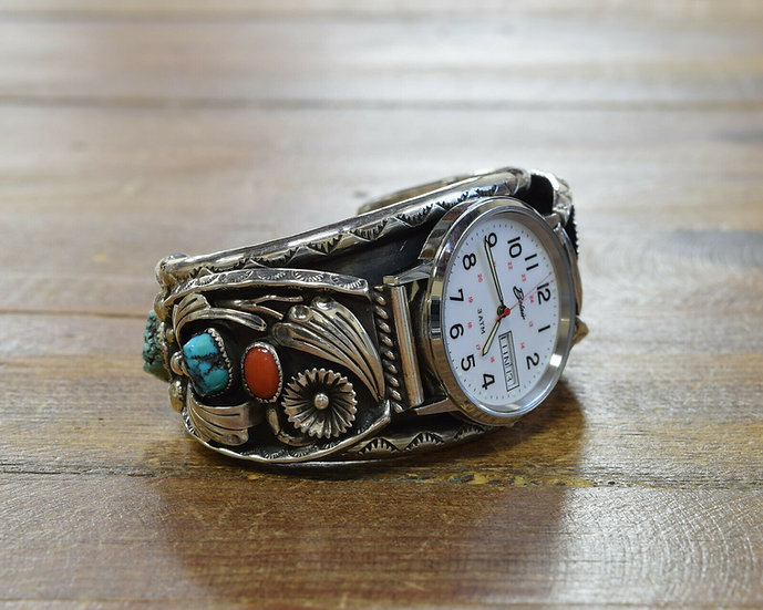 Southwestern Turquoise and Coral Sterling Silver Watch Cuff