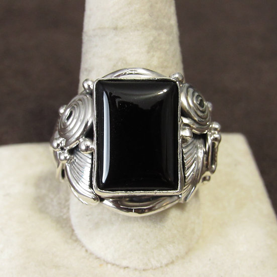 Ornate Sterling Silver and Black Onyx Men's Size 11.25