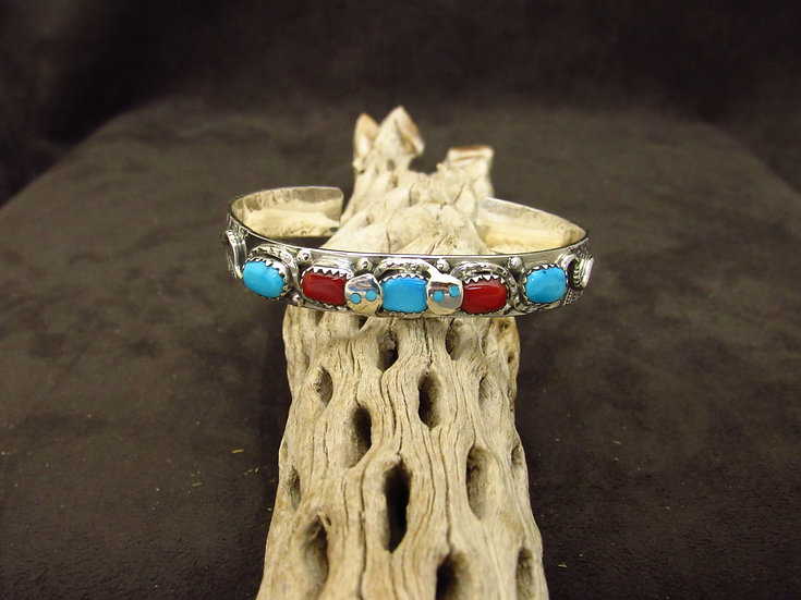 Zuni Sterling Silver Coral and Turquoise Snake Cuff Bracelet by Effie Calavaza