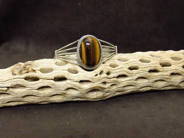Sterling Silver Oval Tigers Eye Cuff Bracelet