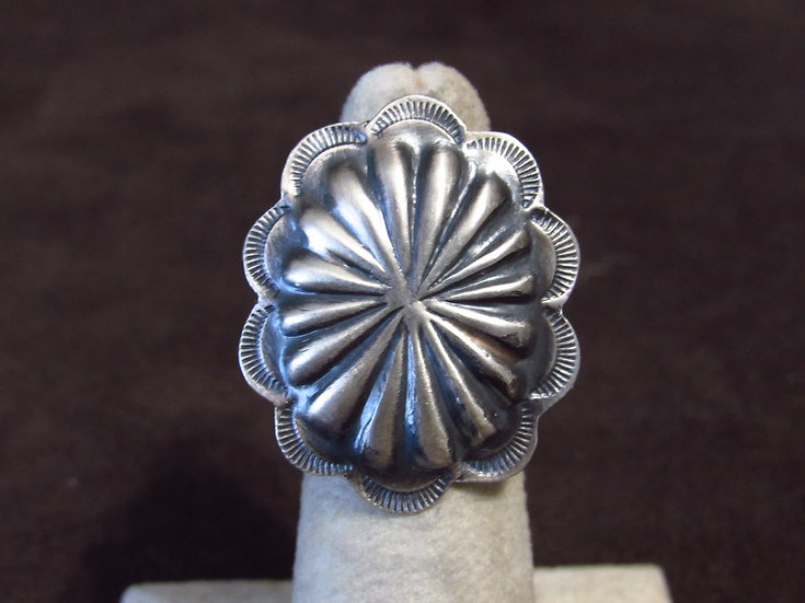 Brushed Oxidized Repousse Sterling Silver Southwest Concho Ring
