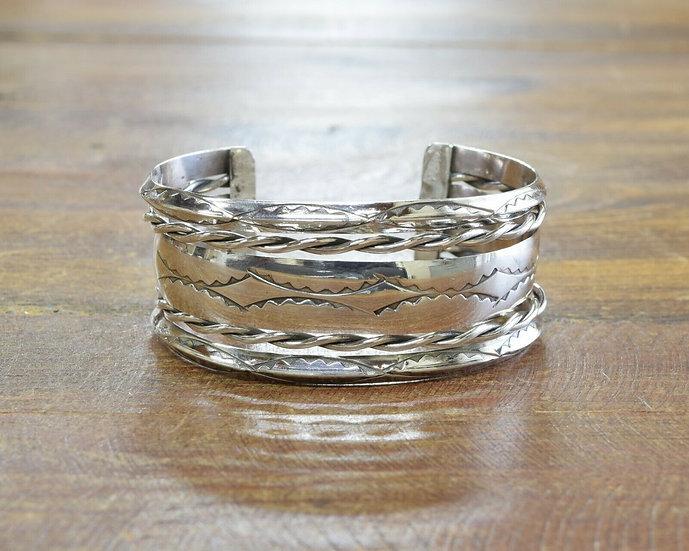 Vintage Southwestern Sterling Silver Stamped Cuff Bracelet