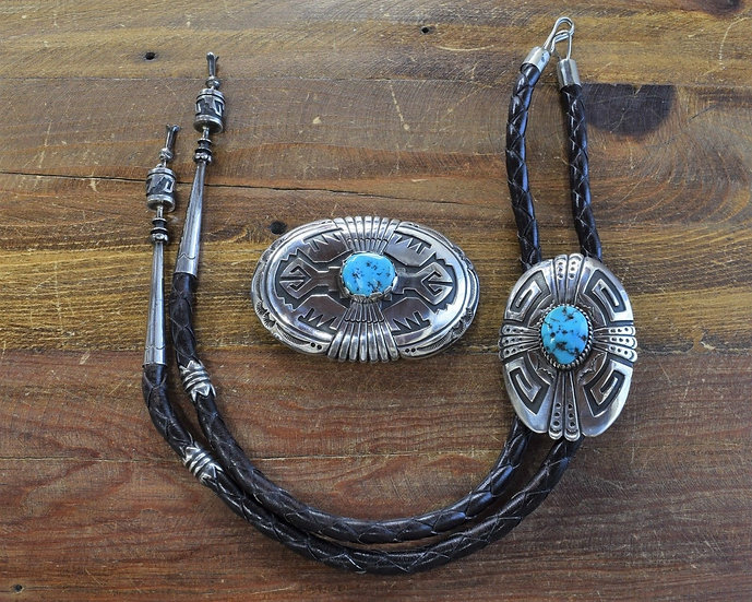 Vintage Navajo Turquoise Sterling Silver Bolo and Buckle Set