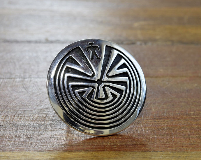 Vintage Sterling Silver Man in the Maze Ring Size 6.5