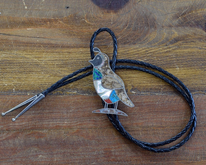 Vintage Sterling Silver Quail Inlay Bolo
