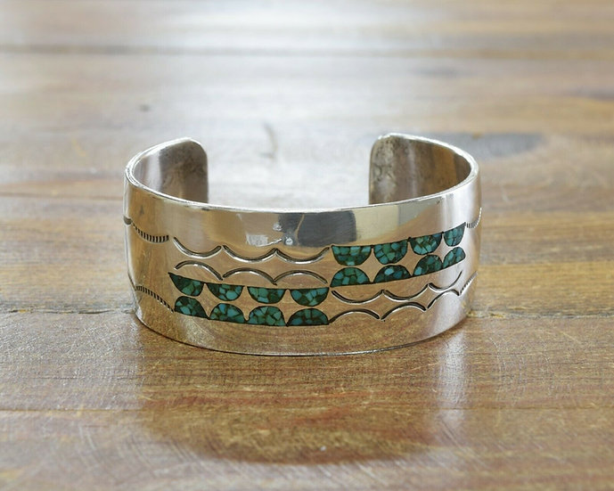 Vintage Sterling Silver and Turquoise Chip Inlay Cuff Bracelet