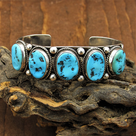 Sterling Silver and  Five Stone Turquoise Cuff Bracelet
