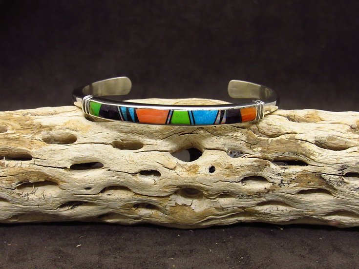Sterling Silver Multi Color Inlay Cuff Bracelet