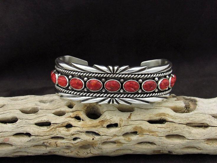 Stunning Southwestern Sterling Silver Spiny Oyster Cuff Bracelet