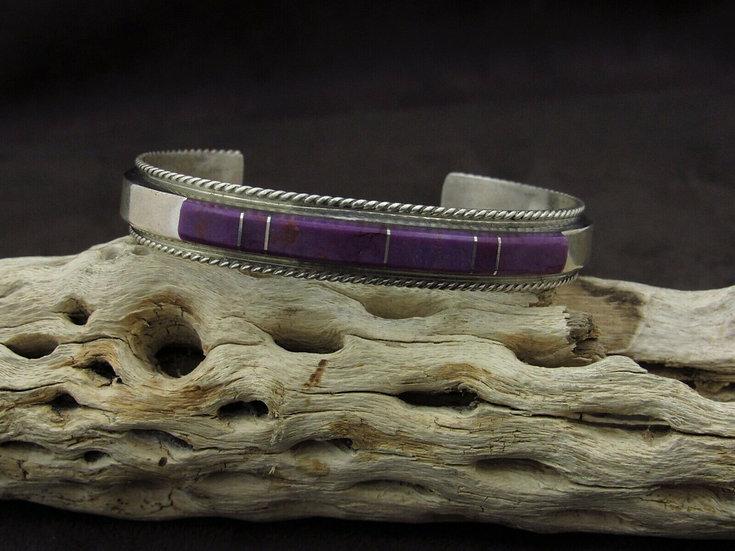 Sterling Silver Purple Inlay Cuff Bracelet