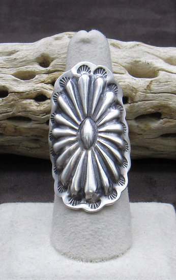 Repoussé Sterling Silver Ring Size 8